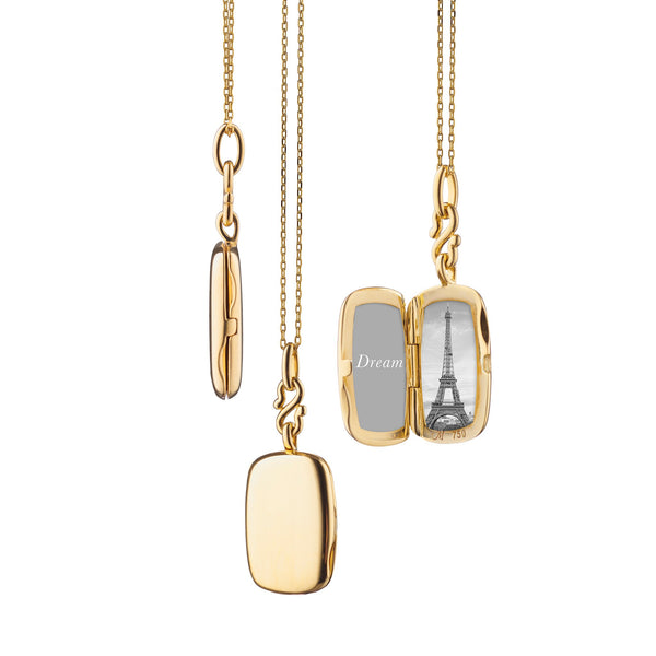 "18K Yellow Gold Slim ""Britt"" Rectangle Locket with Adjustable Chain"