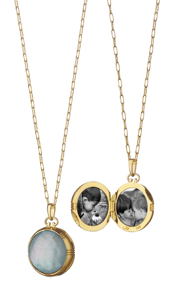 Petite Round Double-Sided Locket, Blue Topaz over Mother of Pearl