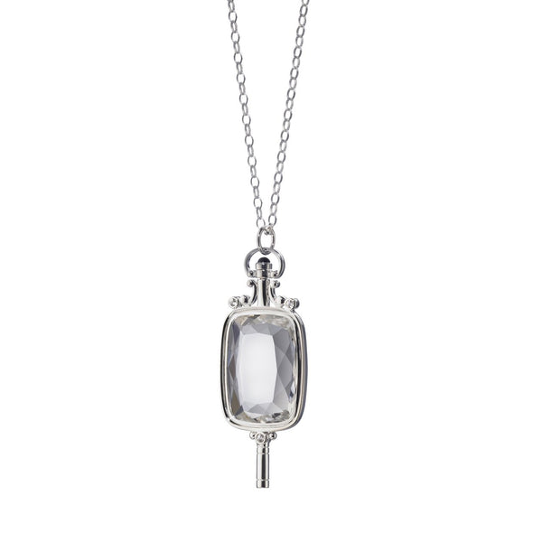Rectangular Pocket Watch Key Necklace, Rock Crystal