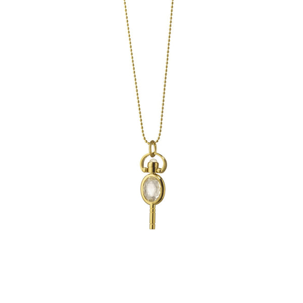 Mini Oval Pocket Watch Key Necklace in Rock Crystal