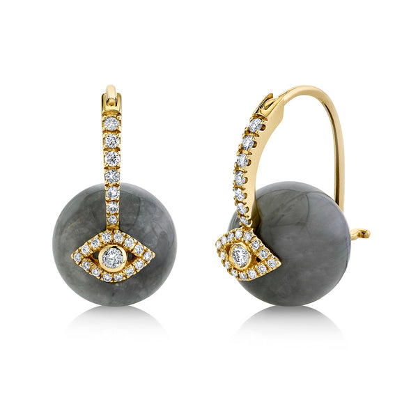 Gold & Diamond Evil Eye Grey Cat's Eye Bead Earrings