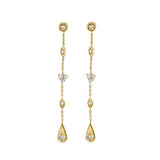 Long Gold & Diamond Marquis Teardrop Earrings