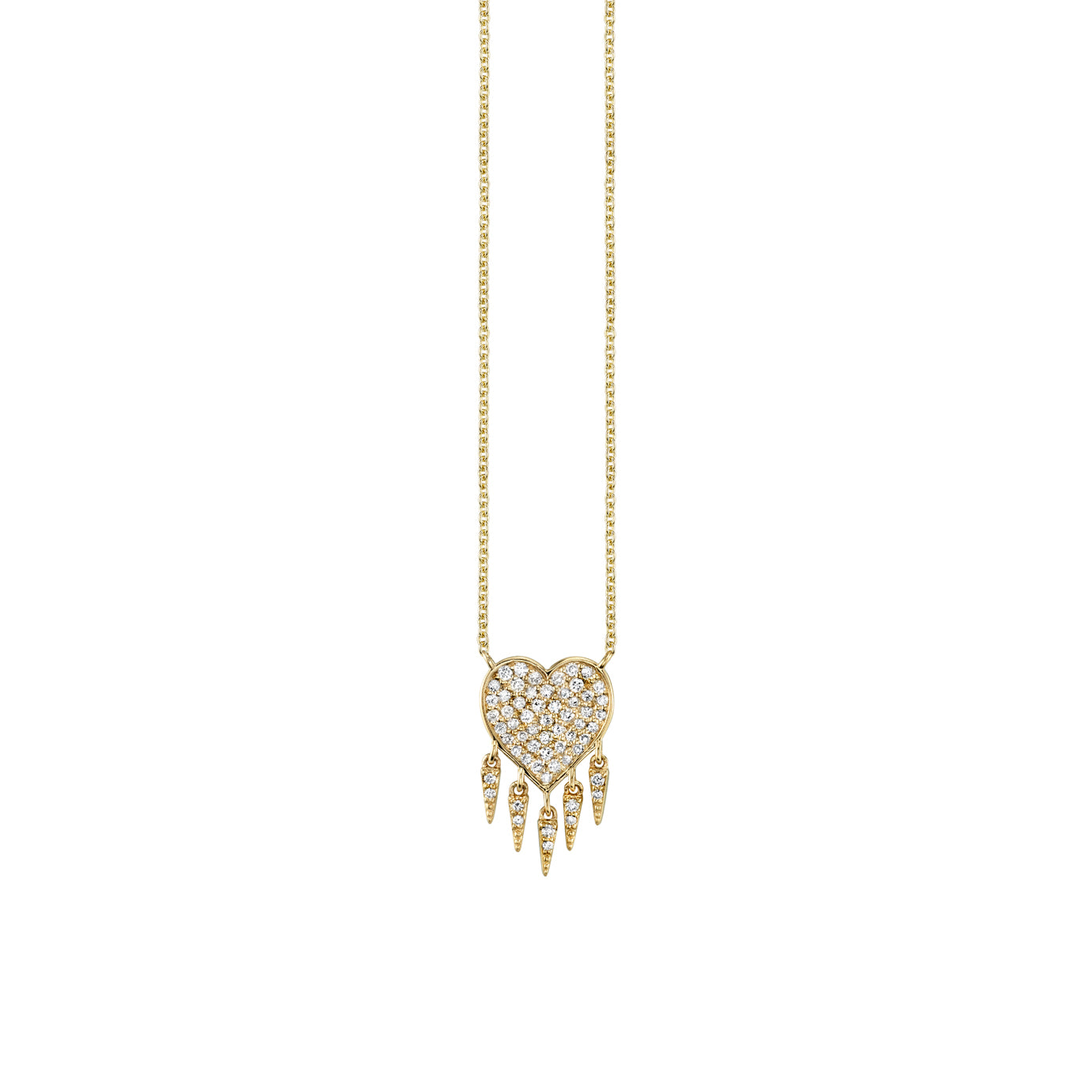 Pavé Diamond Fringe Heart Necklace in Gold