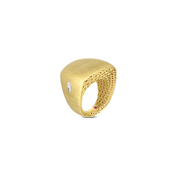 Golden Gate Satin Square Top Ring with Diamond Accent