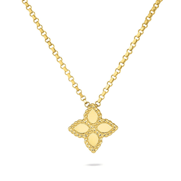 Gold Princess Flower Pendant Necklace
