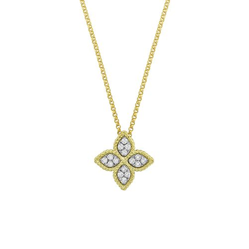 Gold Medium Diamond Princess Flower Pendant