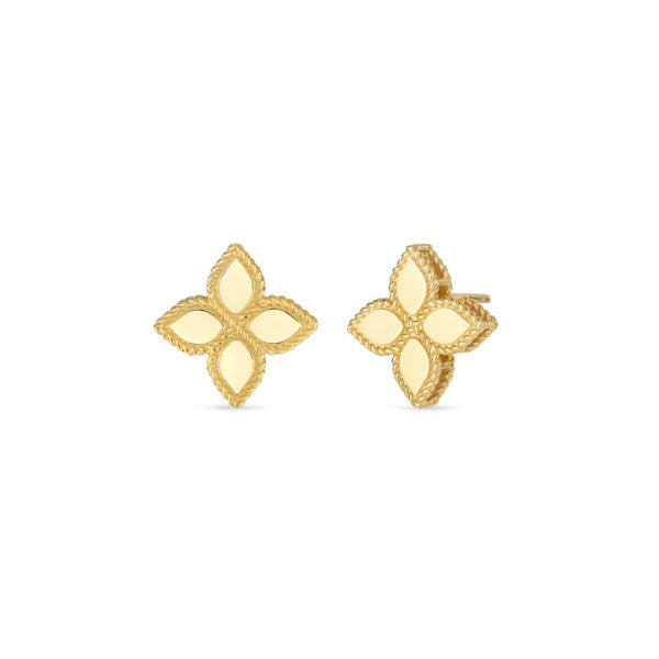 Gold Princess Flower Medium Stud Earrings