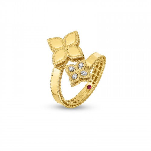 Princess Flower Bypass Yellow Gold Diamond Ring