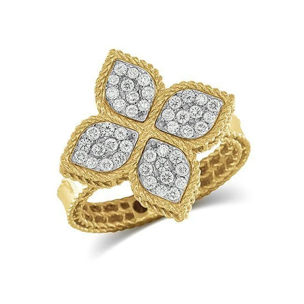 Princess Flower Yellow Gold Diamond Ring