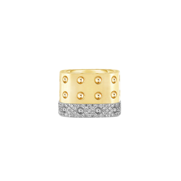 Gold 3 Row Ring with Diamonds