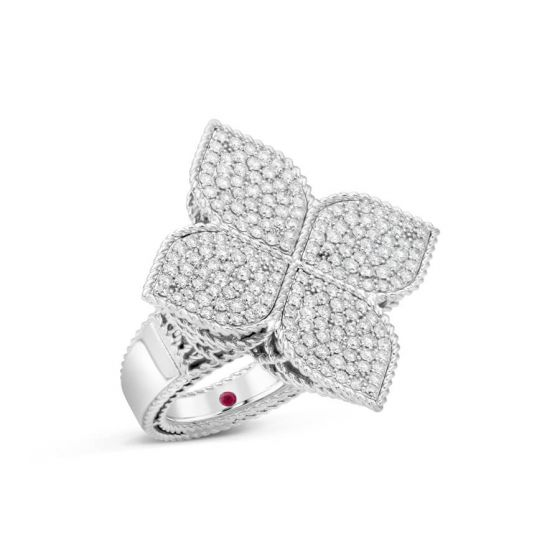 White Gold X-Large Princess Flower Diamond Ring