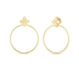 Princess Flower Earrings with Attached Hoops
