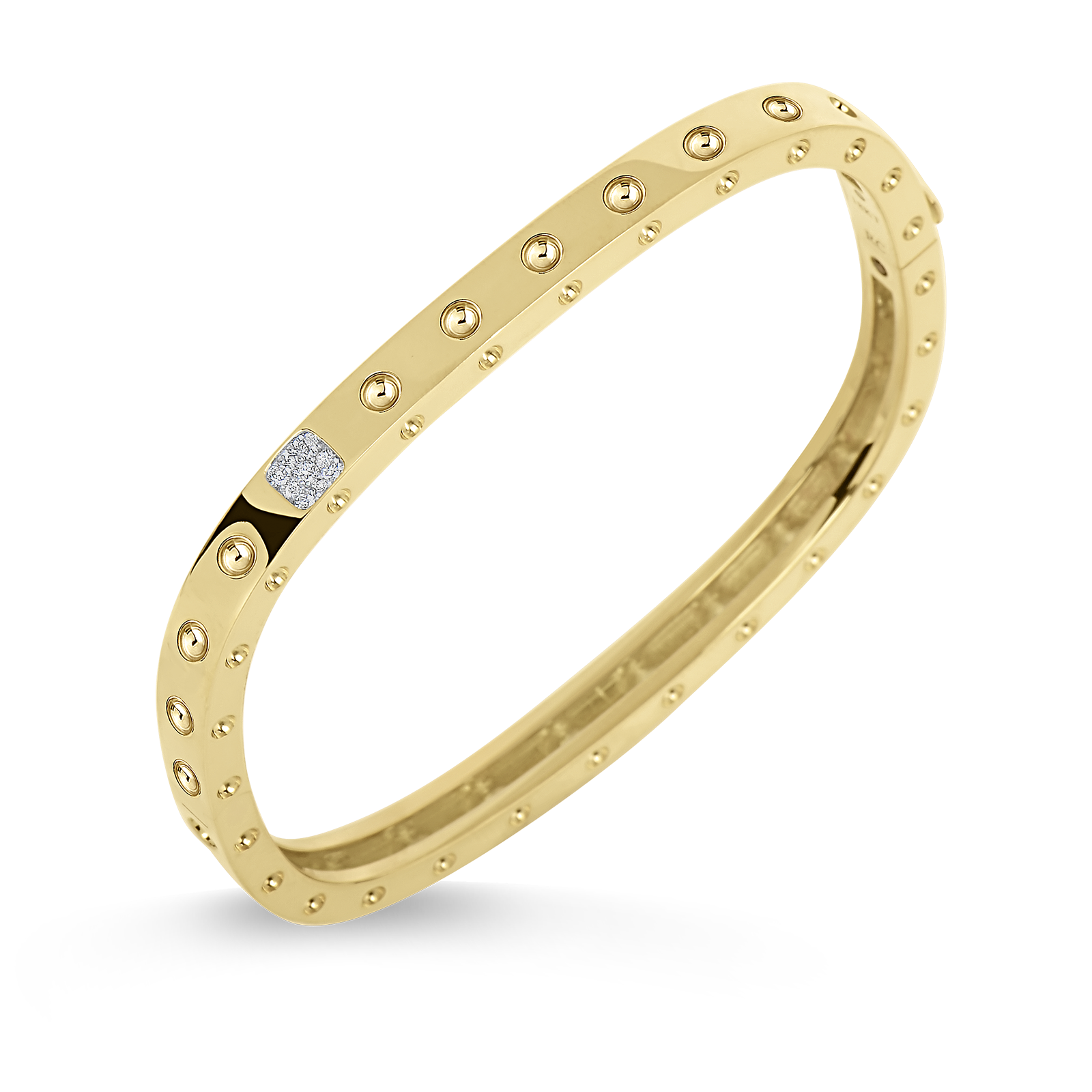 Pois Moi 1 Row Square Bangle with Diamonds