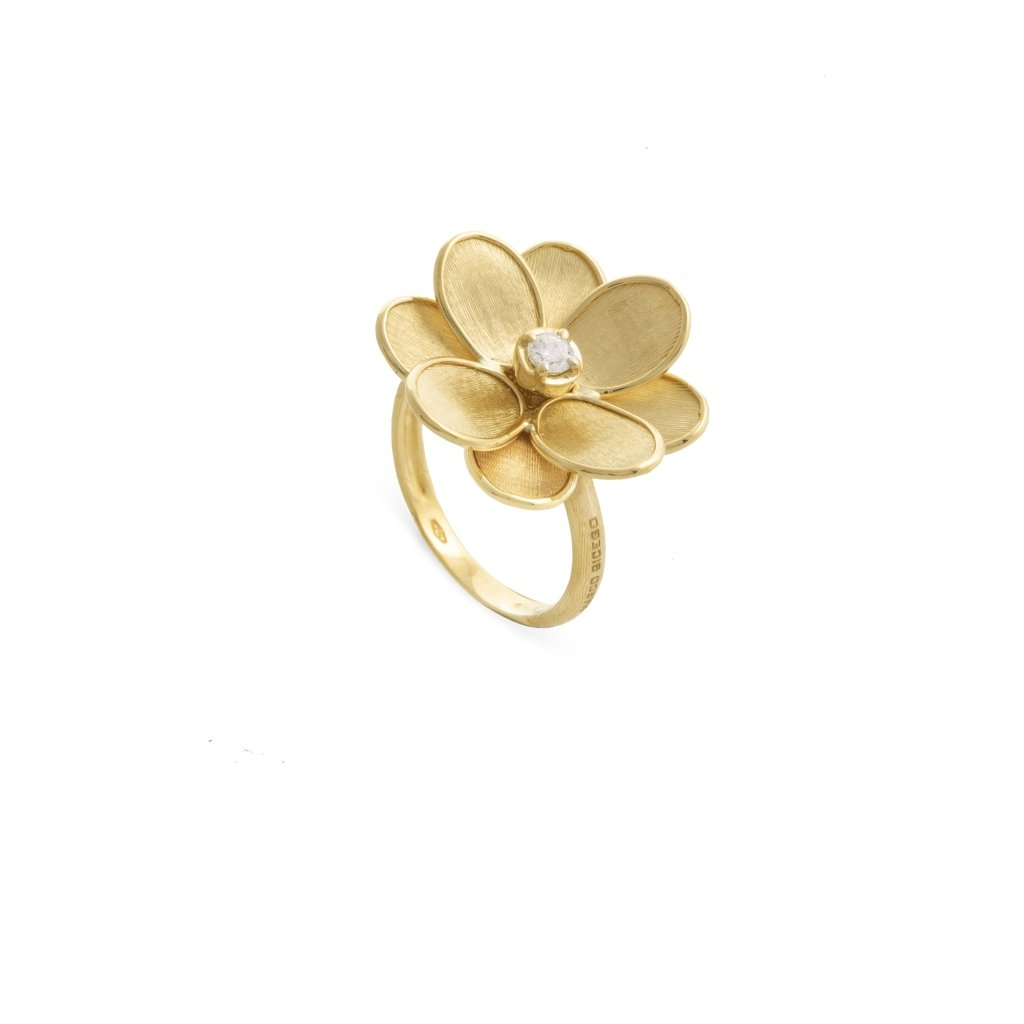 Petali 18K Yellow Gold and Diamond Small Flower Ring