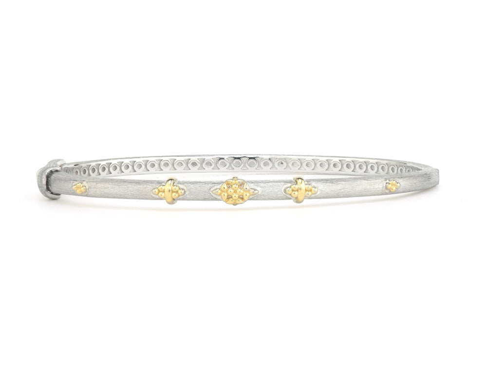 Mixed Metal Beaded Trio Bangle