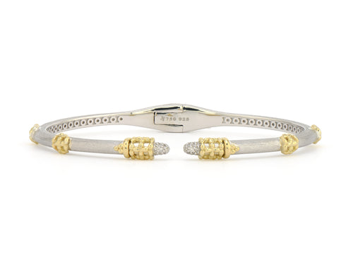 Mixed Metal Stretchy Beaded Trio Bangle With Diamond Tips