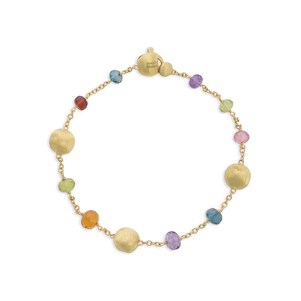 Africa Gemstone 18K Yellow Gold Mixed Gemstone Single Strand Bracelet