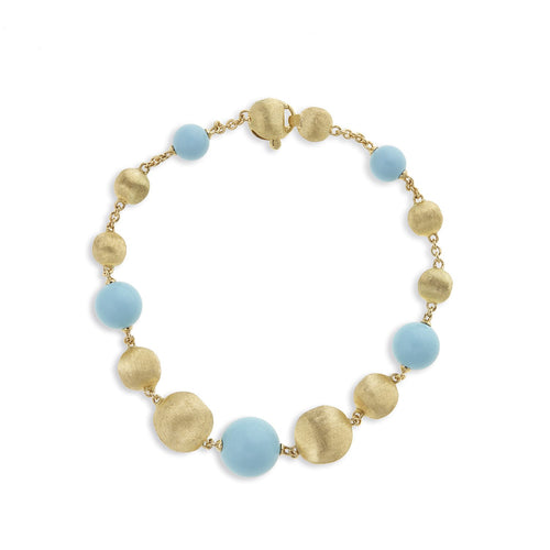 Africa 18K Yellow Gold and Turquoise Bracelet