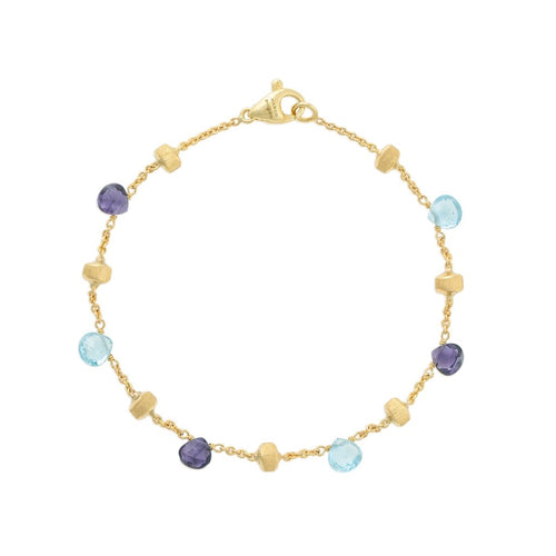 Paradise 18K Yellow Gold Iolite and Blue Topaz Single Strand Bracelet
