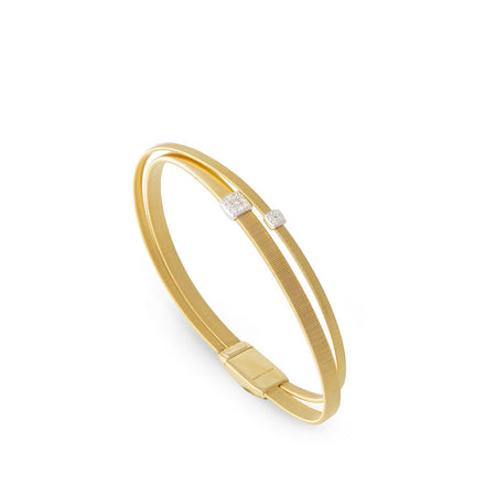 Slim Gold Bangle with Diamonds