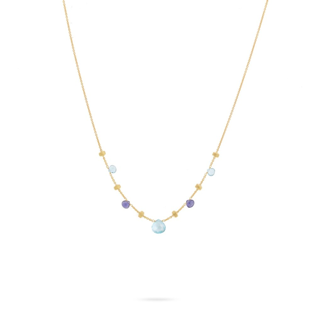 Paradise 18K Yellow Gold Iolite and Blue Topaz Short Necklace