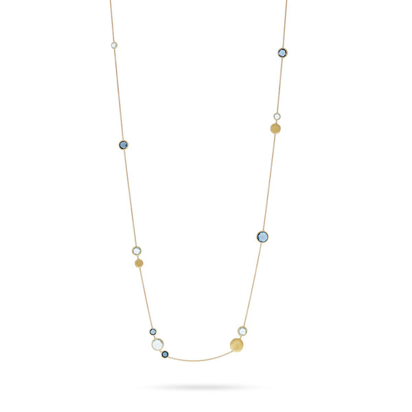 Jaipur 18K Yellow Gold Mixed Blue Topaz Long Necklace