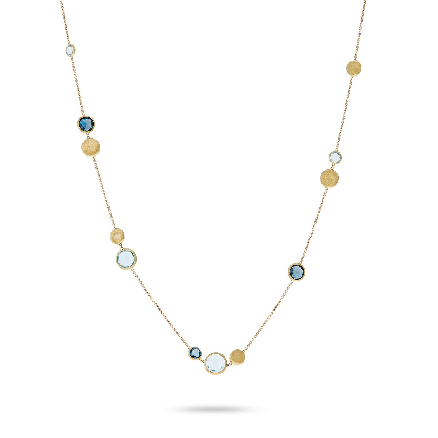 Jaipur 18K Yellow Gold Mixed Blue Topaz Necklace