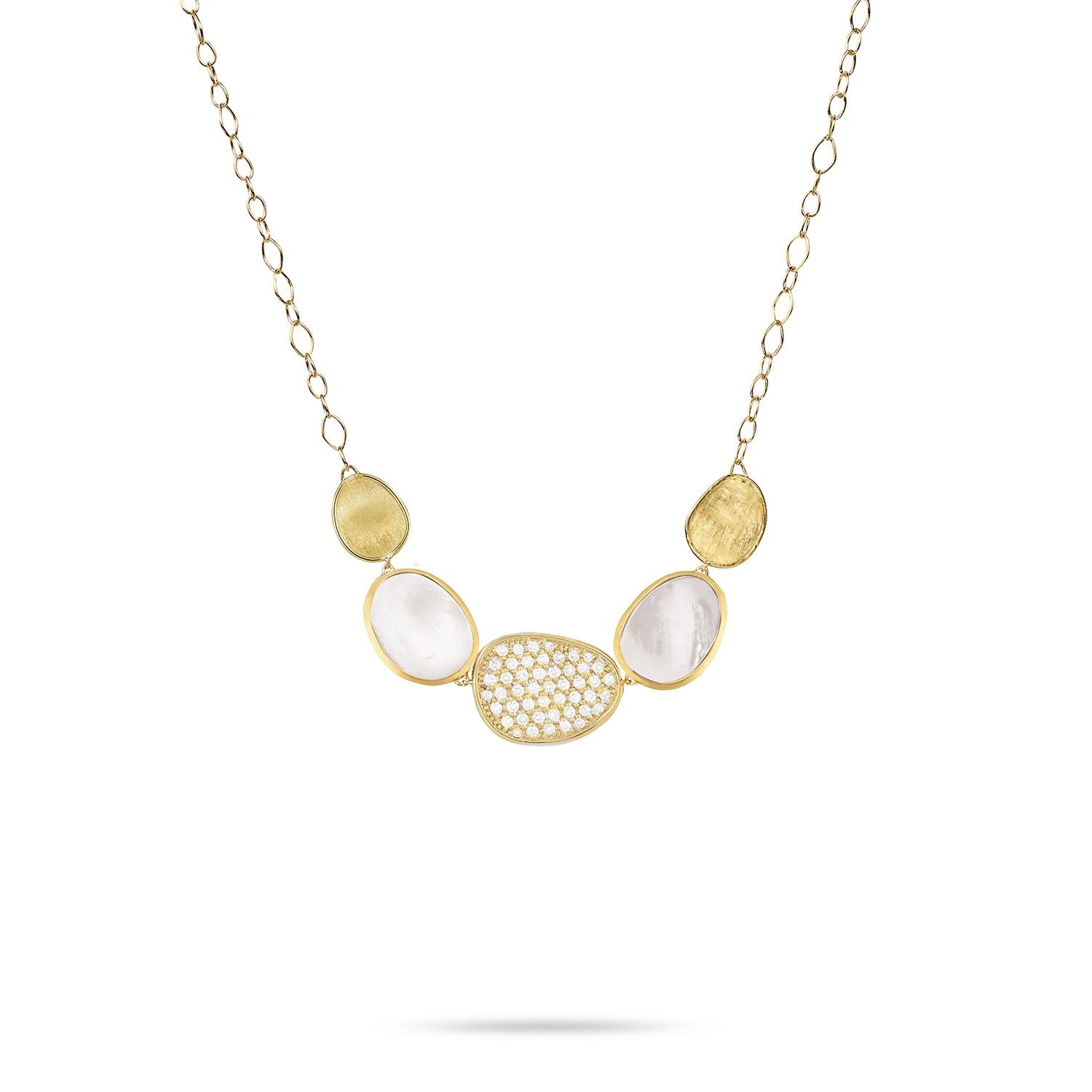 Lunaria 18K Yellow Gold and Diamond White Mother of Pearl Graduated Necklace