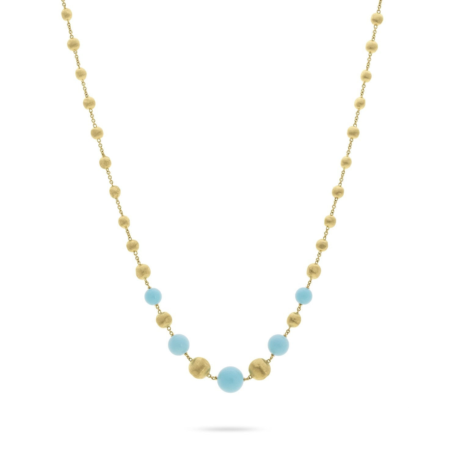 Africa 18K Yellow Gold and Turquoise Short Necklace