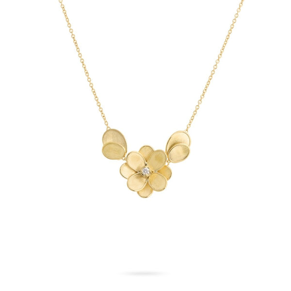 Petali 18K Yellow Gold and Diamond Small Flower Pendant With Leaves