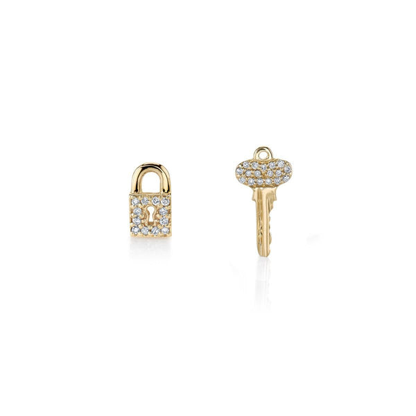 Gold & Diamond Lock & Key Stud Earrings