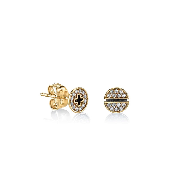 Yellow Gold & Pavé Diamond Small Screw Stud Earrings