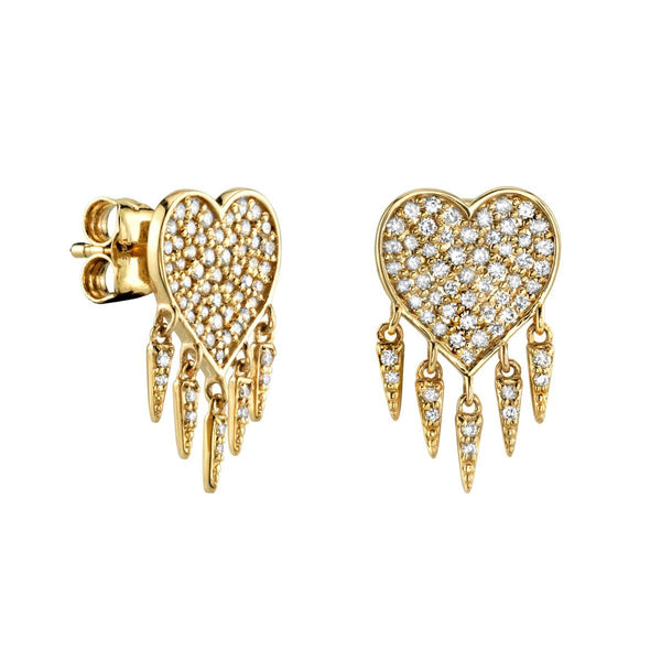 Gold & Diamond Heart Fringe Stud Earrings