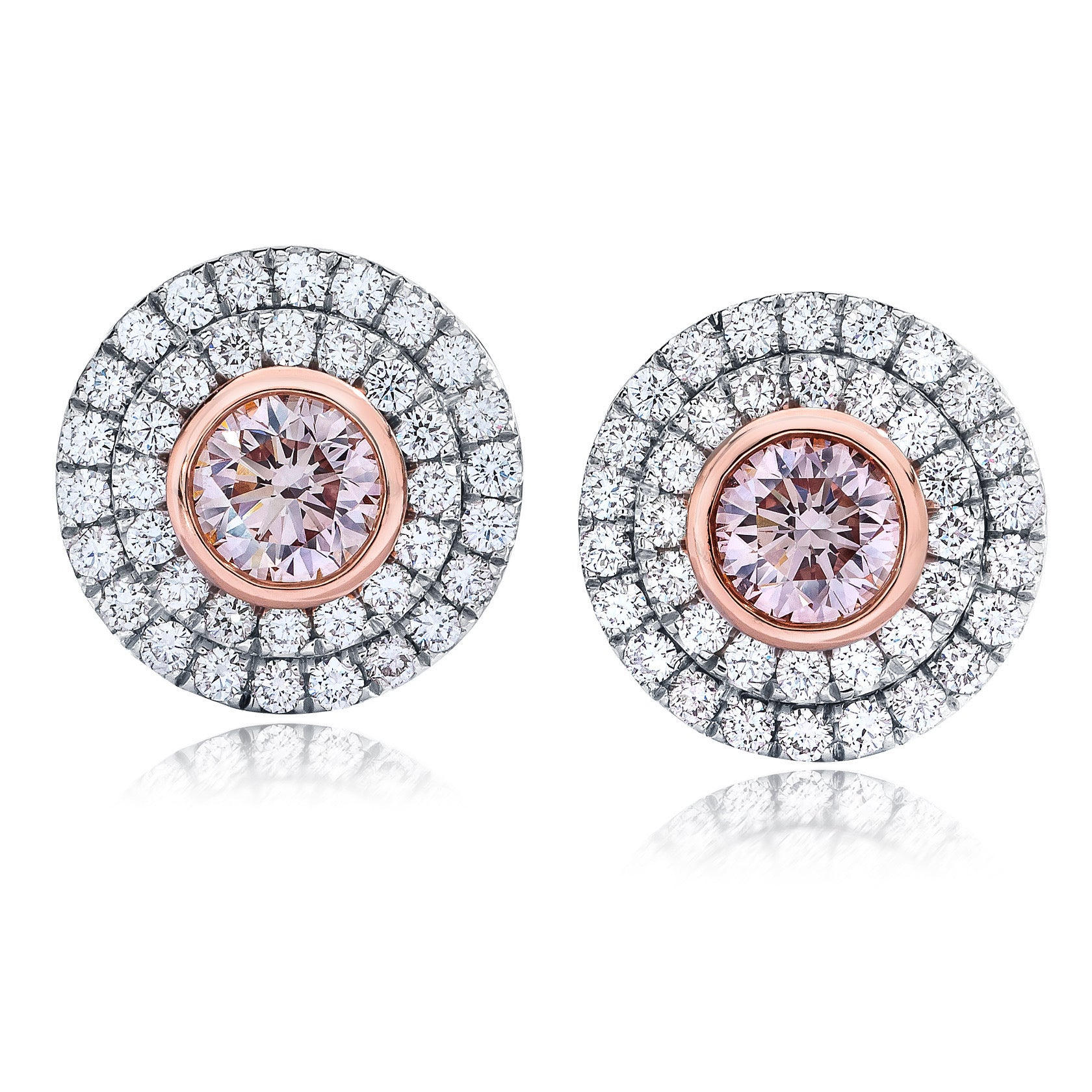 Pink Diamond Circle Earrings