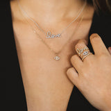Small White Gold & Diamond Love Necklace