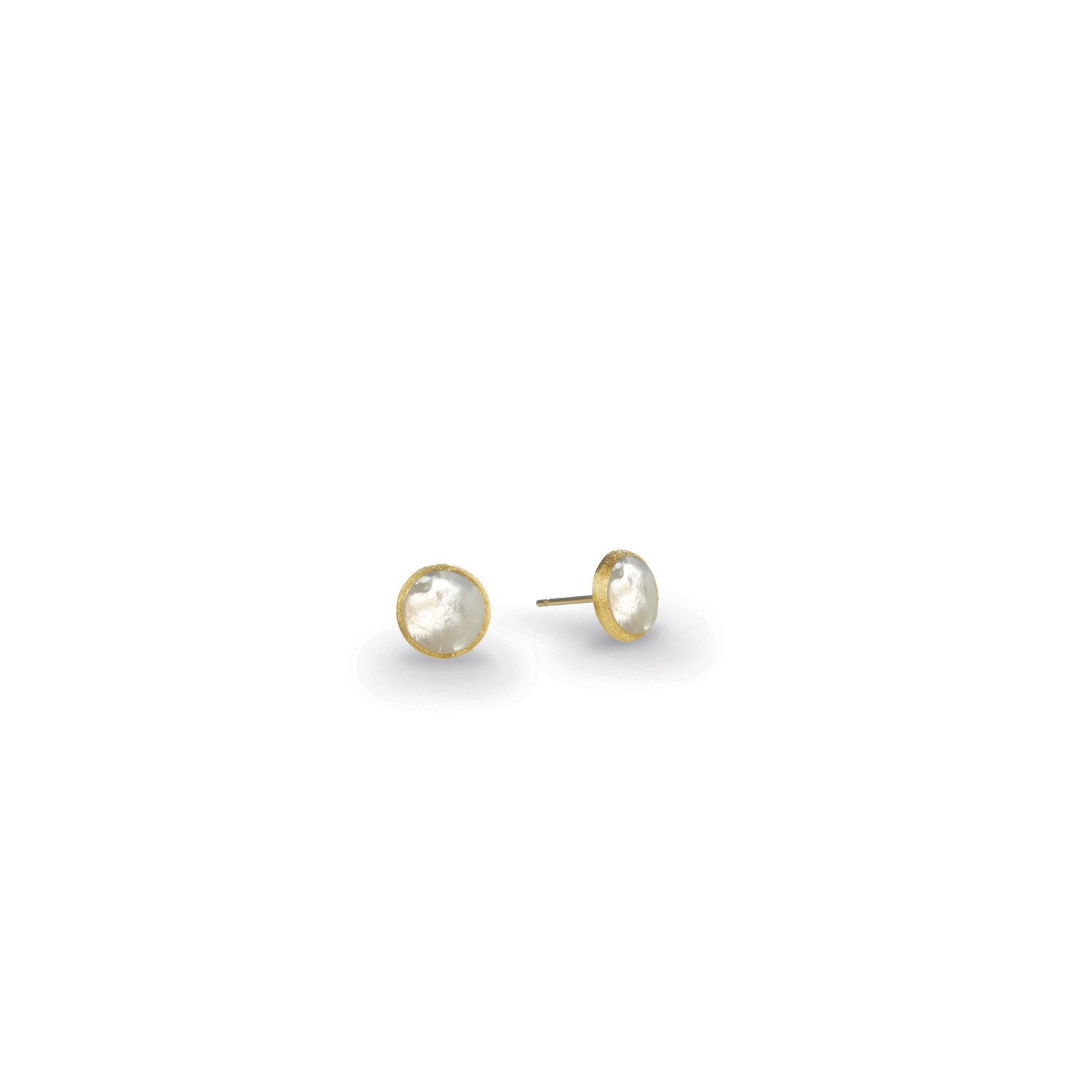 18K Gold Mother Of Pearl Stud Earrings
