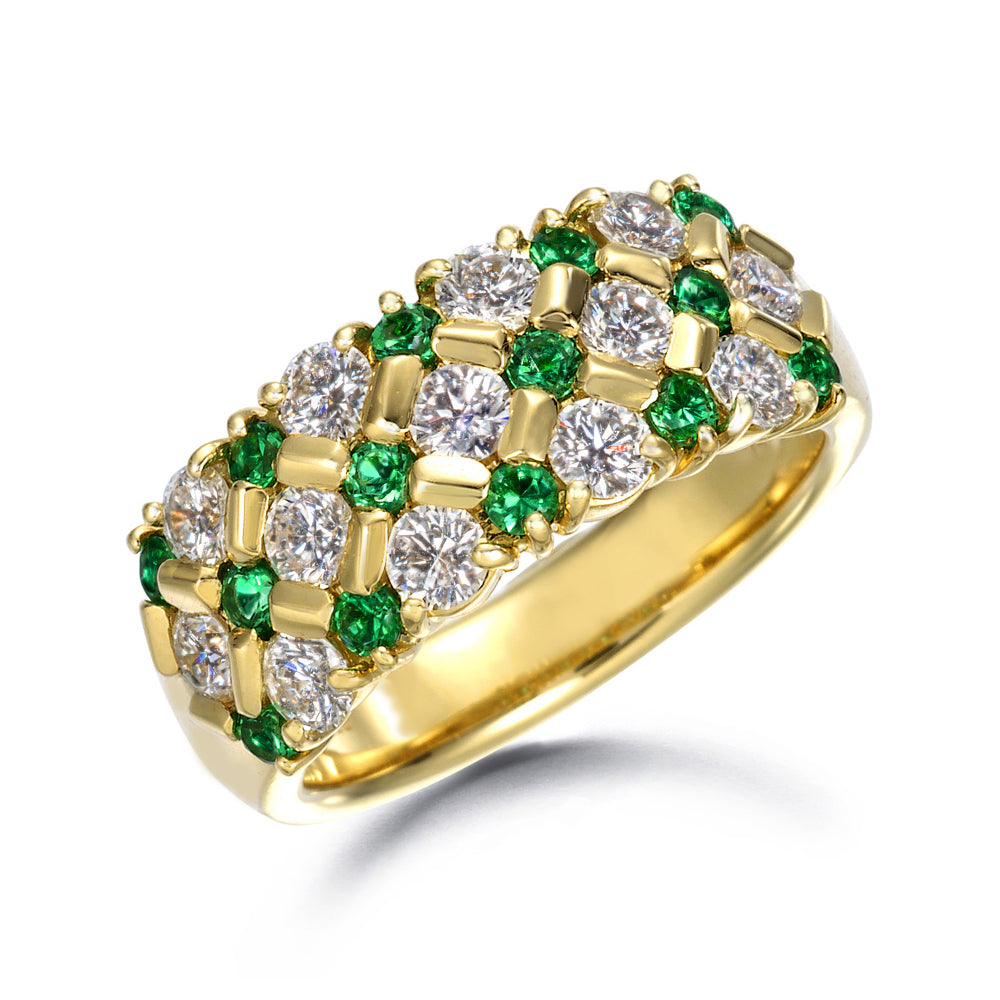 Round Emeralds and Diamonds on Gold Band