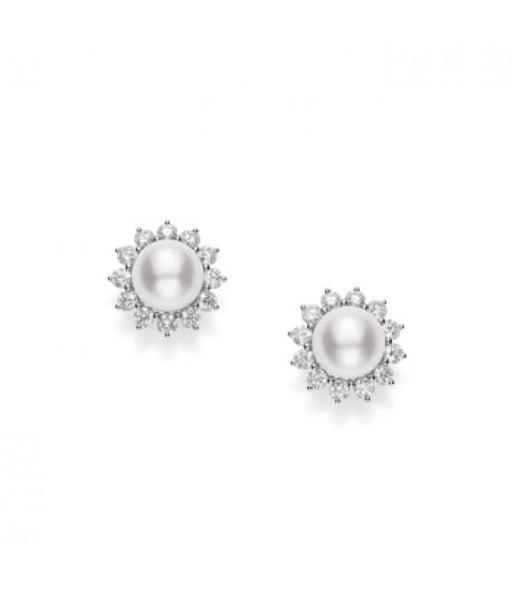 Akoya Cultured Pearl Earrings with Diamonds