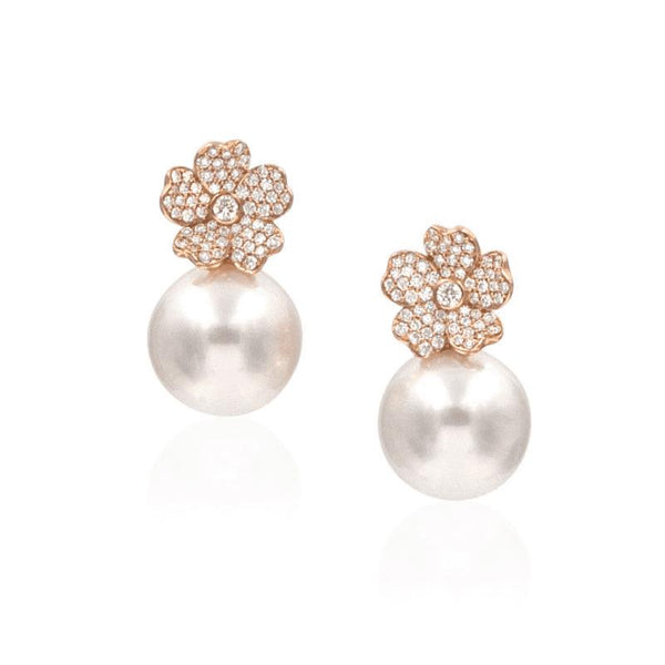 Cherry Blossom 18K Rose Gold Diamond Flower Stud Earrings