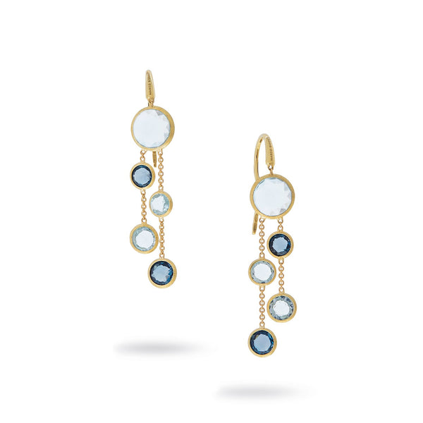 Jaipur 18K Yellow Gold Mixed Blue Topaz Two Strand Earrings