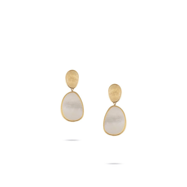 Lunaria Petite 18K Yellow Gold & White Mother of Pearl Earrings