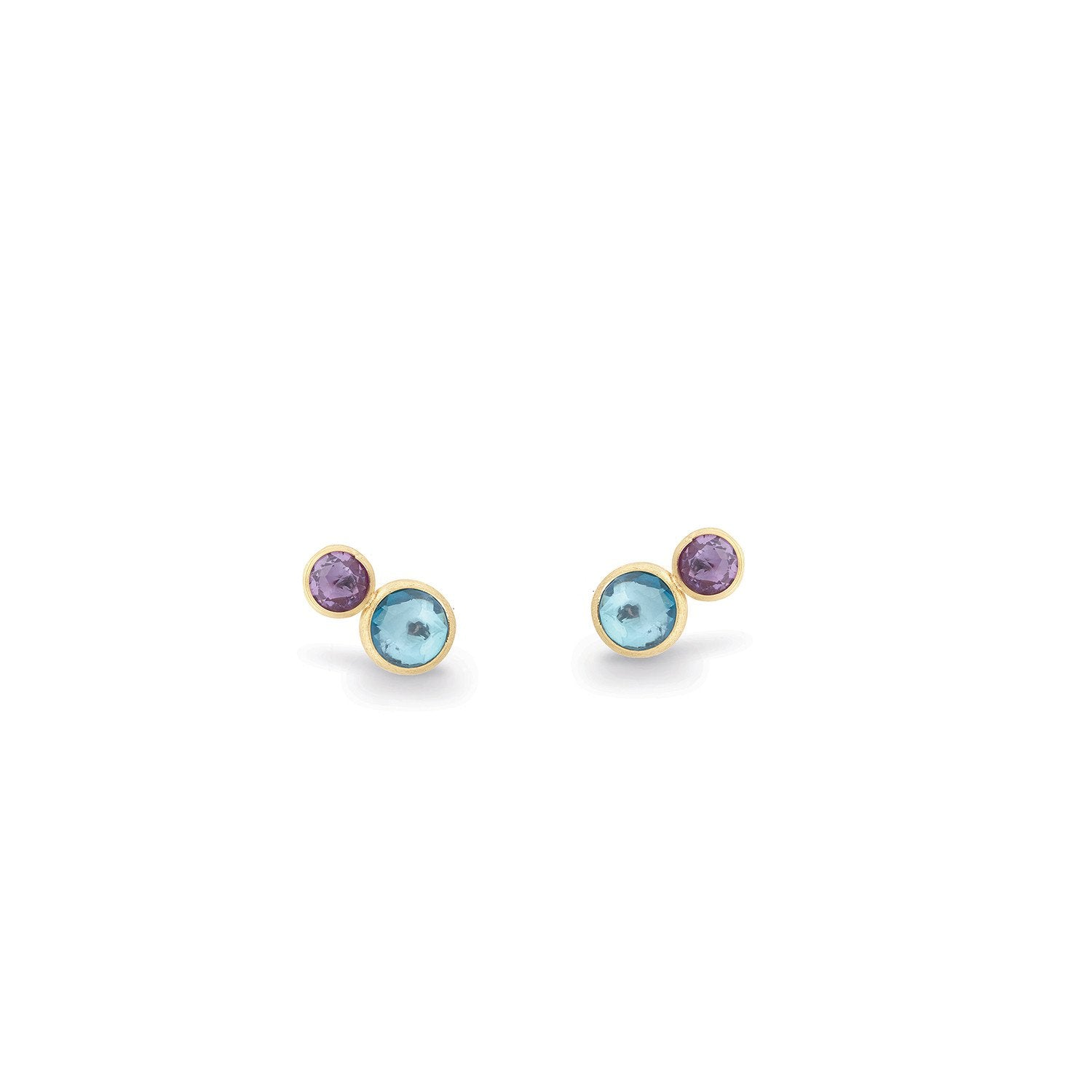 Jaipur 18K Yellow Gold Blue Topaz and Amethyst Stud