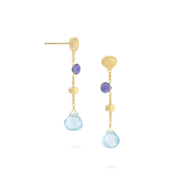 Paradise 18K Yellow Gold Iolite and Blue Topaz Short Drop Earrings