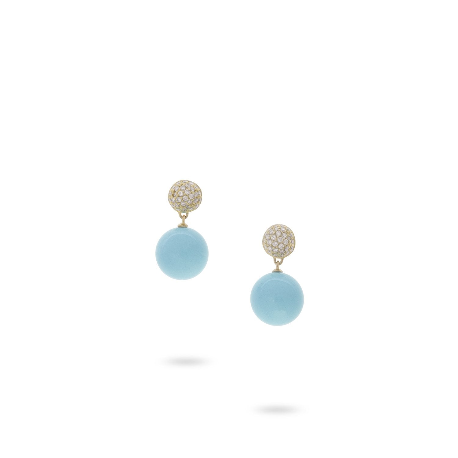 Africa 18K Yellow Gold Turquoise and Diamond Small Drop Earrings