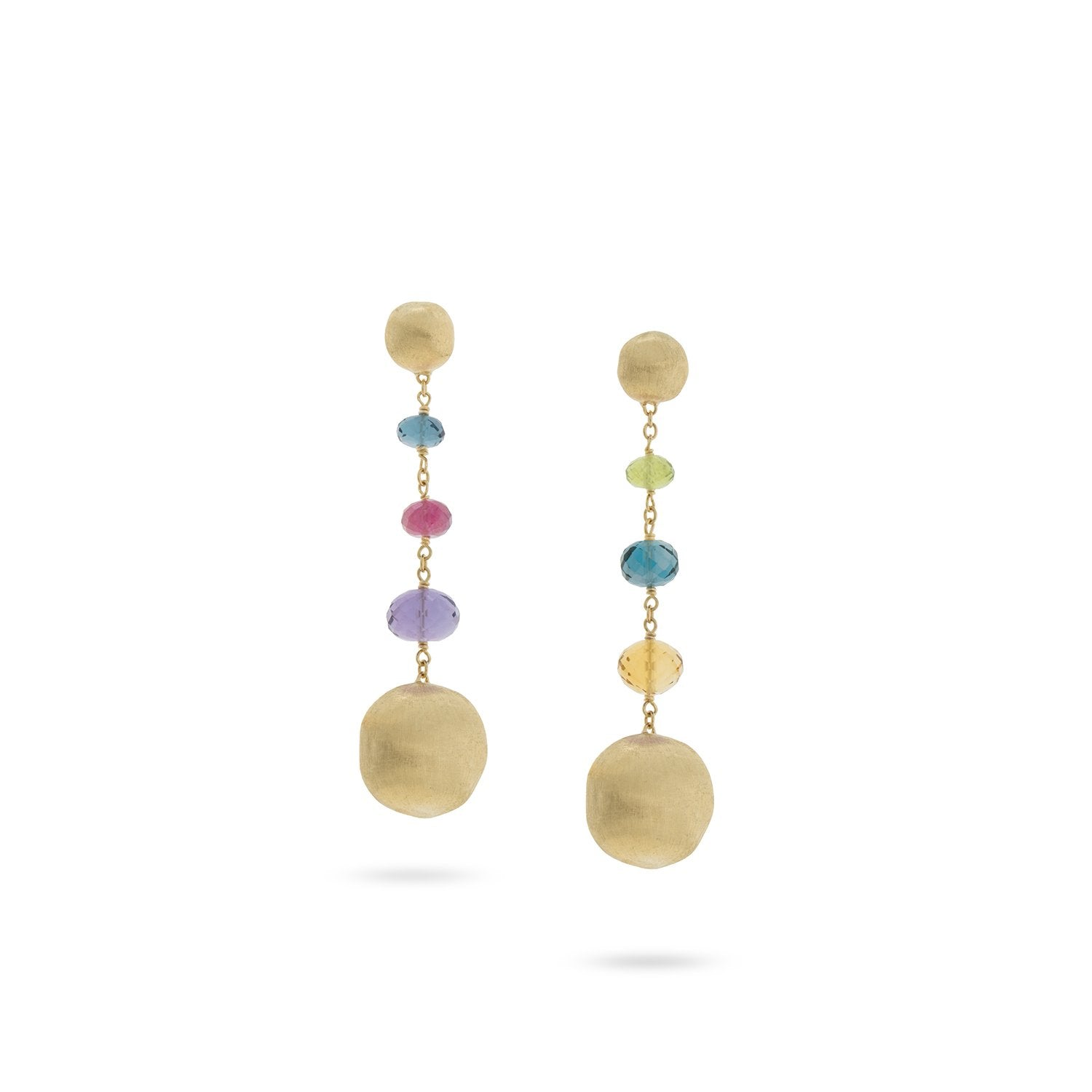 Africa Gemstone 18K Yellow Gold Mixed Gemstone Drop Earrings