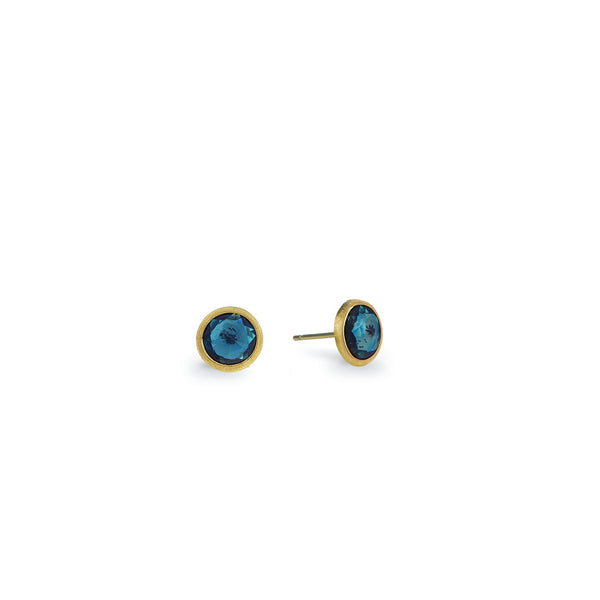 Jaipur 18K Yellow Gold London Blue Topaz Stud Earrings