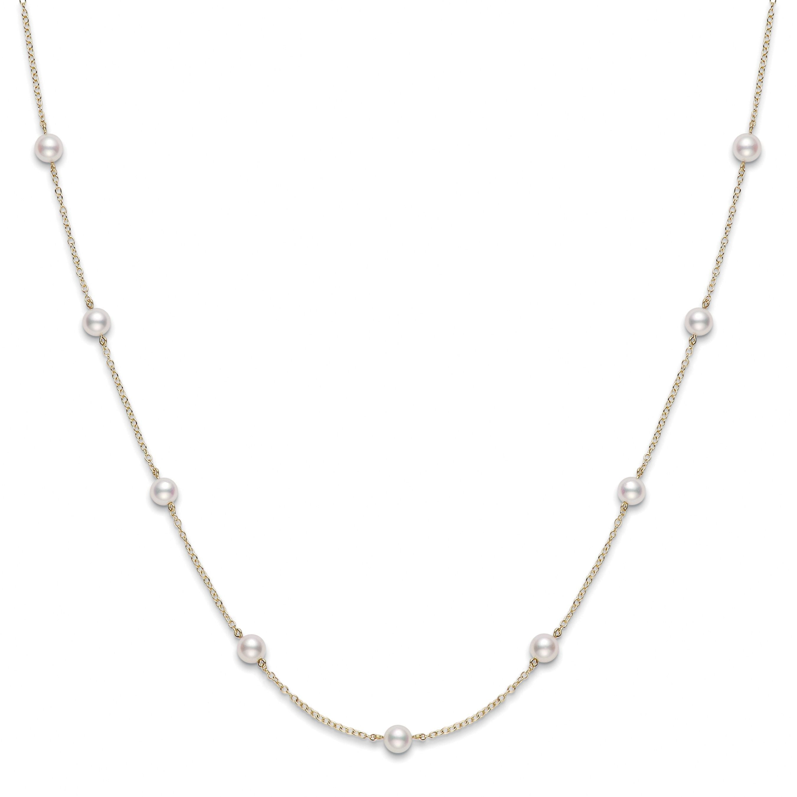 Akoya Cultured Pearl Tin Cup Station Necklace 5-5.5mm A+