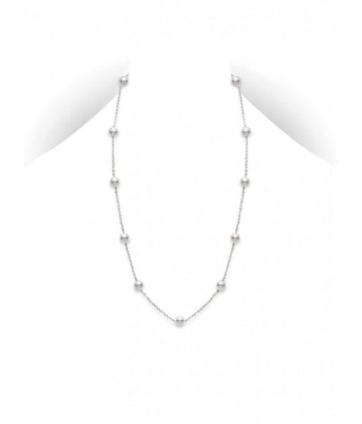 Akoya Cultured Pearl Station Necklace 5.5mm A+