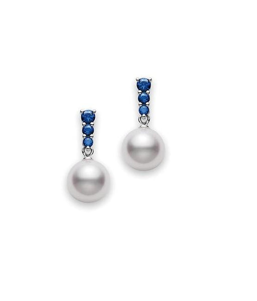 Akoya Cultured Pearl And Sapphire Drop Earrings