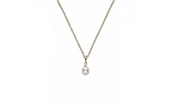 Akoya Cultured Pearl and Diamond Pendant 7-7.5mm A+